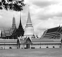 BW Thailand Bangkok Chapel Royal Palace 1970s by blackwhitephoto