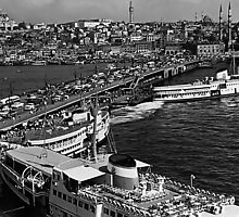 BW Turkey Istanbul Galata port 1970s by blackwhitephoto