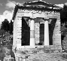 BW Greece Delphi Athenian Treasury 1970s by blackwhitephoto