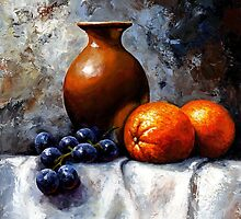 Orange and grapes by Imre Toth (Emerico)