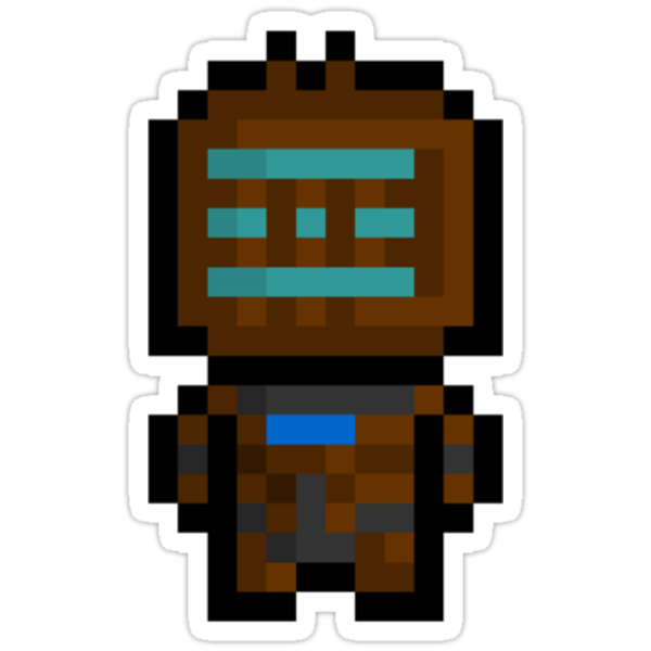 Pixel Isaac Clarke Sticker by PixelBlock