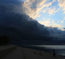 Stormy Sunrise in Chicago's Montrose Harbor by Adam Kuehl
