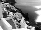 Santorini Cliffs, Houses & Caldera ~ Black & White by Lucinda Walter
