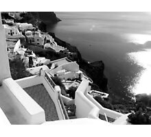 Santorini Cliffs, Houses & Caldera ~ Black & White Photographic Print