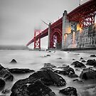 Golden Gate Star Night B&W by jswolfphoto