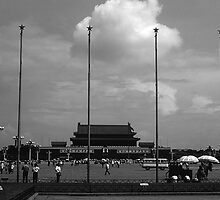 BW China Pekin street Tiananmen square gate 1970s by blackwhitephoto