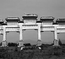 BW China Pekin gate ming tombs 1970s by blackwhitephoto