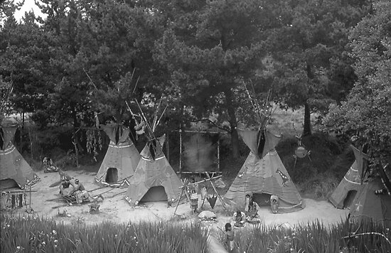 BW USA California disneyland Indian camp 1970s by blackwhitephoto