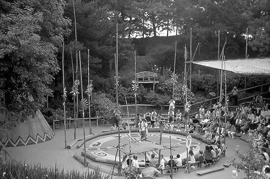 BW USA California Disneyland Indian village 1970s by blackwhitephoto