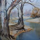 Watercolour: Gum trees on the Lachlan by Marion Chapman