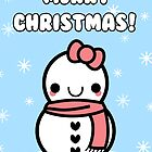 Adorable Kawaii Cartoon Snowman Greeting Card by hellohappy