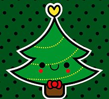 Adorable Kawaii Cartoon Christmas Tree Boy by hellohappy