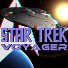 Star Trek: Voyager USS Voyager Starship 3D Anaglyph by metacortex