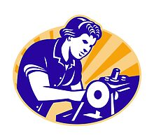 Female Machinist Seamstress Worker Sewing Machine by patrimonio