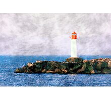 White lighthouse and pier  Photographic Print