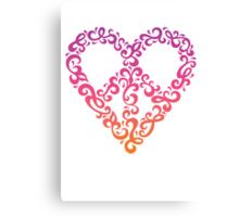 Floral Peace Heart Canvas Print