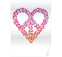 Floral Peace Heart Poster