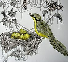 which yellow bird fills its nest with lemons? by LisaMM