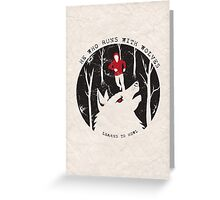 He Who Runs With Wolves Greeting Card