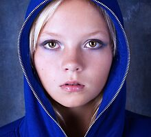 Portrait of young beautiful teen girl in blue hood by torishaa
