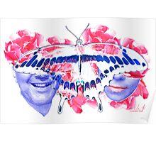 kissing game binary code love digital fine art Poster