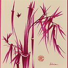 &quot;Pink Gives Us Hope&quot; - Original sumi-e bamboo asian brush pen painting by Rebecca Rees