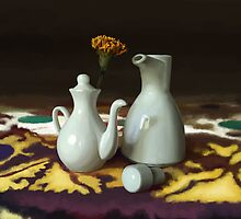 Still life with white jugs by Artyom Ernst