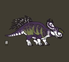 Purple and Green Pachyrhinosaurus by alaskanime