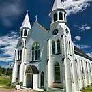 Beautiful white church in Nova Scotia by Sven Brogren