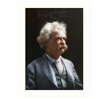 Colorized  - Mark Twain / Samuel L Clemens with signature Art Print