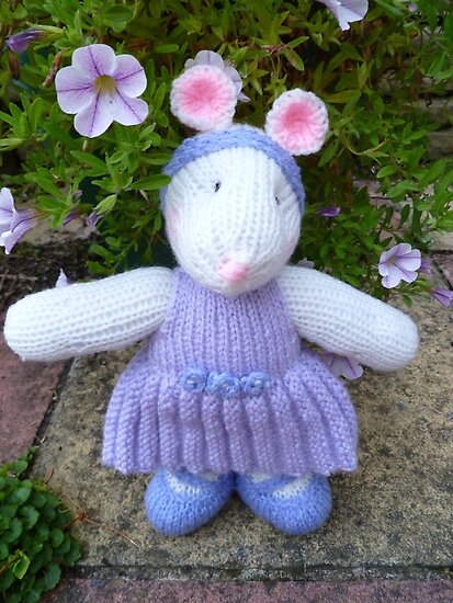 Hand Knitted Girl Mouse by mrsmcvitty