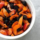Apricots and Blackberries for Cobbler  by Karla  Cyr