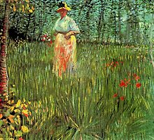 A woman walking in a garden, Vincent van Gogh. by naturematters