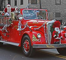 Santa on a Fire Truck by GalleryThree