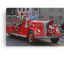 Santa on a Fire Truck Canvas Print