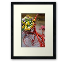 Red bicycle with flowers Framed Print