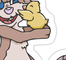 Easter Bunny with Baby Chick  Sticker