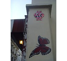 Butterfly and space invader Photographic Print