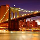 Brooklyn Bridge and firewoks by Zoltán Duray