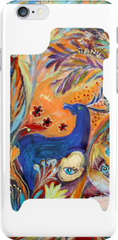 "iPhone case 1 based on my original artwork ""The Peacocks and Blue Deer"" by Elena Kotliarker"