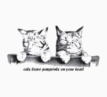 Cats Leave Pawprints On Your Heart Kids Clothes