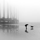 Man and Dog Newhaven Beach by Heather Buckley