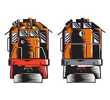 Diesel Train Front Rear Woodcut Retro by patrimonio