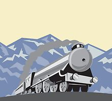Steam Train Locomotive Mountains Retro by patrimonio