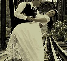Bride and Groom at Railway by Laura Jane Coelho