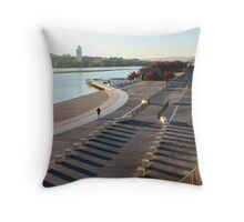 Early morning jogger, Parkes Place Throw Pillow