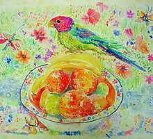 Parakeet with Oranges by Nicky Perryman