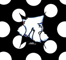 Westie Inside Black Polka Dots by offleashart