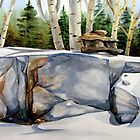 Inukshuk and Poplars by Laura Lea Comeau
