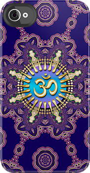 Geometric Mandala Golden OM iPhone iPod Touch Case by webgrrl